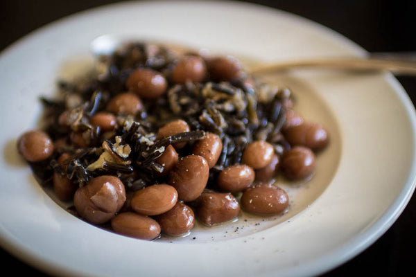 Cooked Good Mother Stallard beans mixed with Wild Rice, Rancho Gordo - Heirloom beans