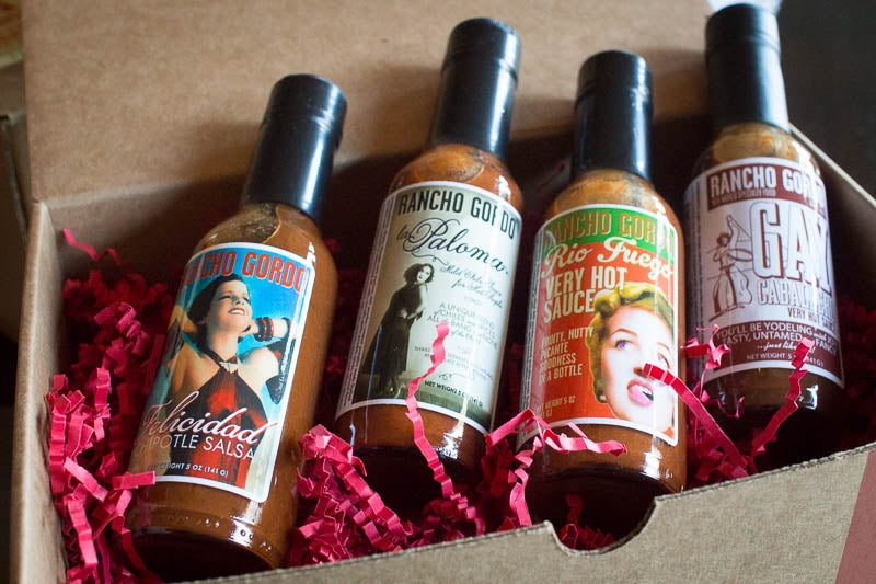 Hot Sauce Gift Box, includes 4 different hot sauces: Felicidad, La Paloma, Rio Fuego, and Gay Caballero - Rancho Gordo