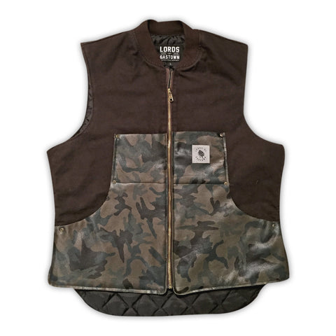 ROAD DOG CANVAS AND CAMO LEATHER HUNTING VEST
