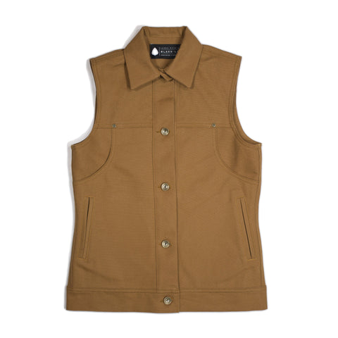 Jenny Lane Splitter Canvas Vest - Tan