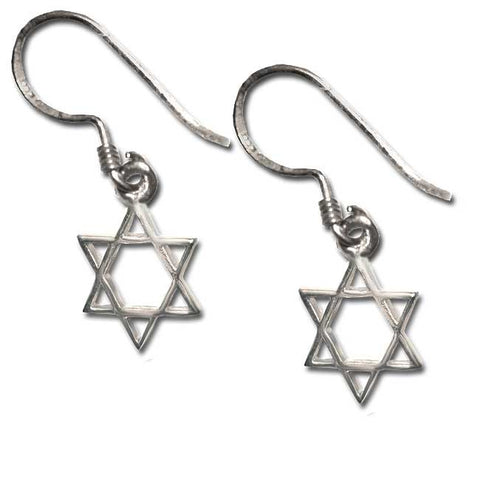 Sterling Silver Star of David Dangling Earrings
