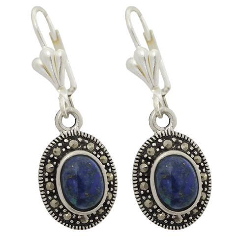 Silver with Marcasite Oval Eilat Stone Earrings