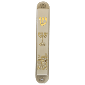 Menorah and Old City Pewter Mezuzah