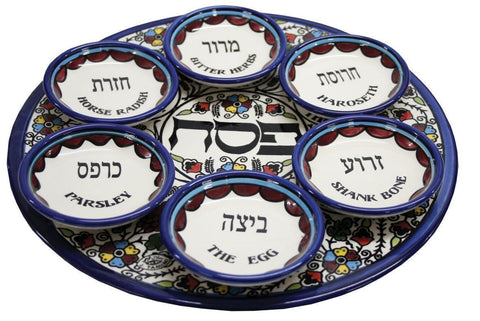 Armenian Ceramic Seder Plate with Anemones Floral Design