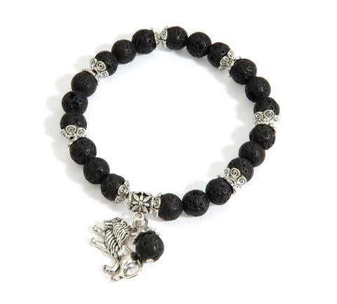 Lion of Judah Lava Bead Bracelet