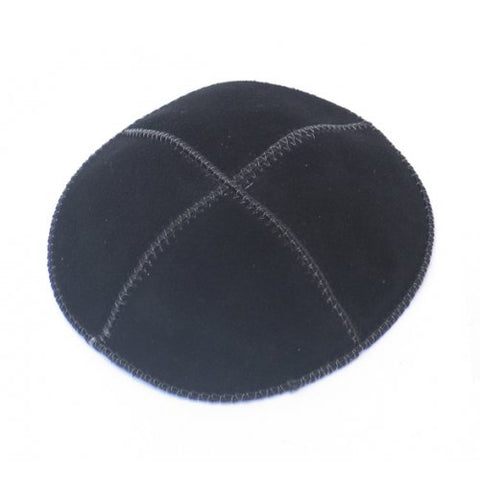 Black Suede 4-Panel Kippah