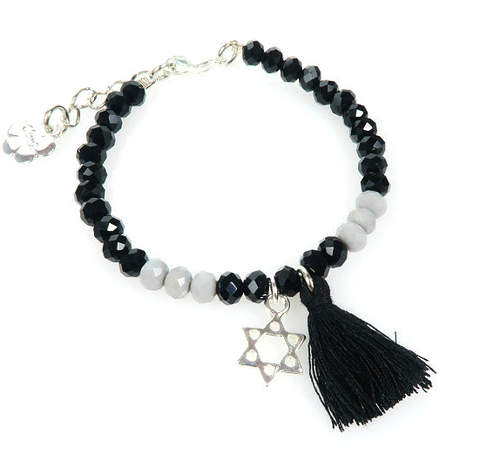 Bracelet - Black/Gray featuring Star of David