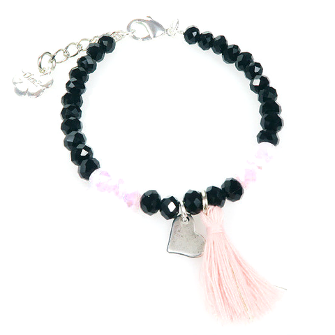 Bracelet - Black/Pink Heart for Israel