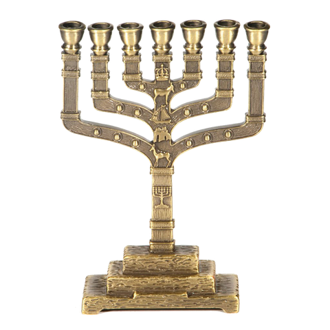 "7-Branch Brass Menorah - ""12 Tribes"""