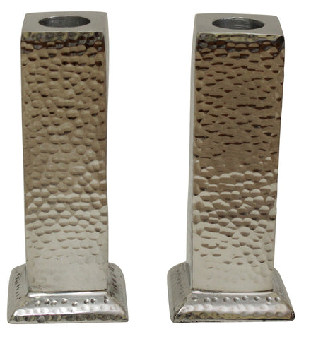 Hammered Nickel Plated Candlestick