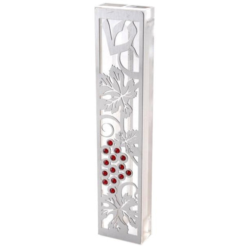 "SALE! -  Acrylic Mezuzah Case with Steel and Swarovski Stones - ""Red Grapes""  *Limited Supplies*"