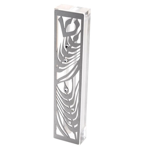 "SALE! -  Acrylic Mezuzah Case with Laser-Cut Steel & Swarovski Stones ""Wheat Sheaf""  *Limited Supplies*"