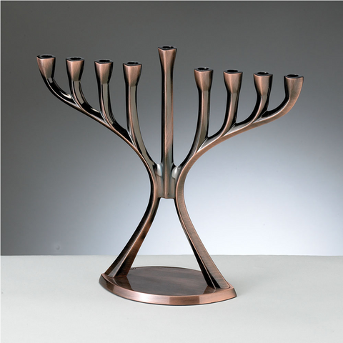Modern Aluminum Hanukkah Menorah - Antique Copper Finish