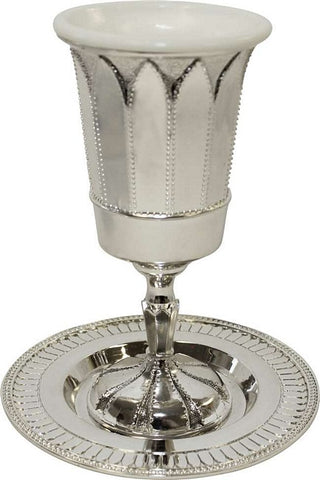 "SALE! - Kiddush Cup Set (Nickel) ""Renaissance"""