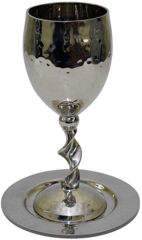 Hammered Nickel Kiddush Cup