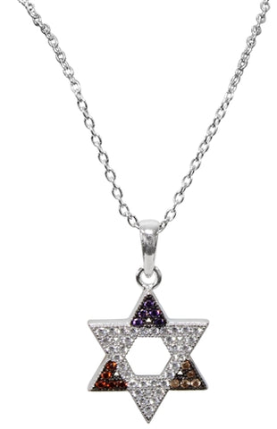 Silver Star Of David Necklace with Multi-colored stones