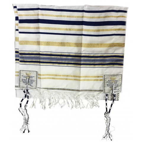 Messianic Tallit - Navy Blue/Gold