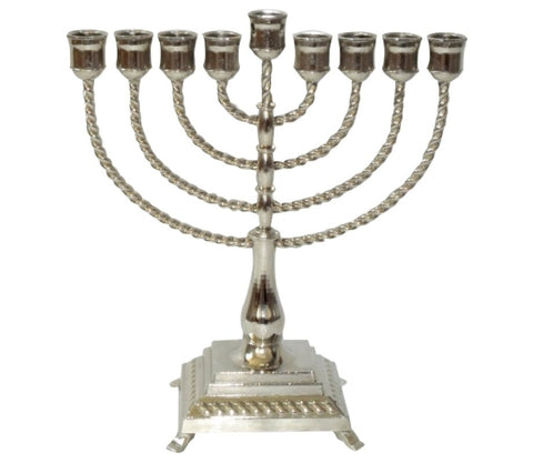Nickel Plated Rope Design Hanukkah Menorah