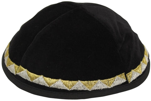 Black Velvet With Silver And Gold Embroidery Kippah