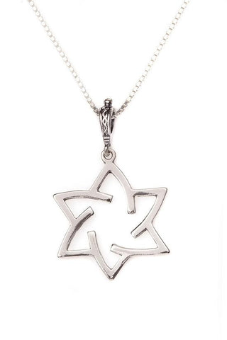 Necklace - Sterling Silver Spiral Star of David