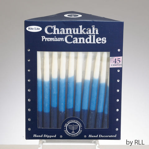 Premium Tri-Tone Blue and White Chanukah Candles