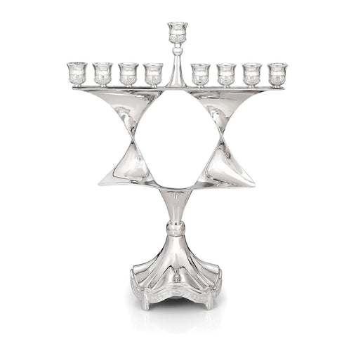 "Hanukkah Menorah - ""Ruffled Star of David"" (Nickel)"