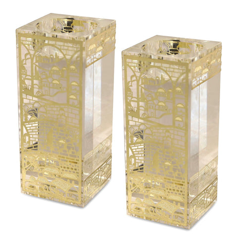 SALE! - Large Jerusalem Crystal Candlesticks with Gold Cut-Outs