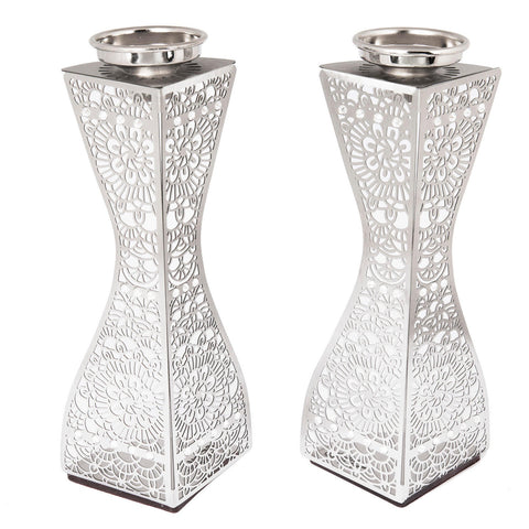"SALE! - Stainless Steel Lightweight Shabbat Candlesticks -  ""Dorit Flowers"" w/Crystals"