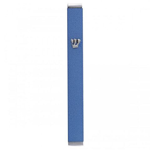 Blue Yair Emanuel Rectangular Mezuzah Case with Shin