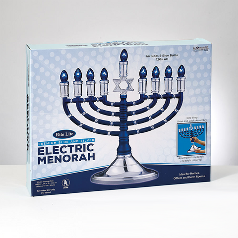 SALE! - Premium Blue & Silver Electric Menorah *Limited Quantity*