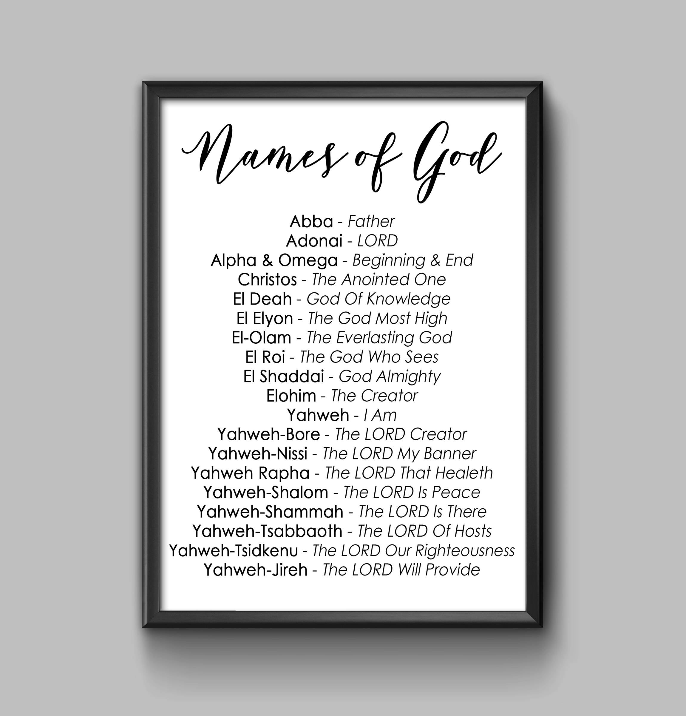 Names of God (Posters) - While Supplies Last