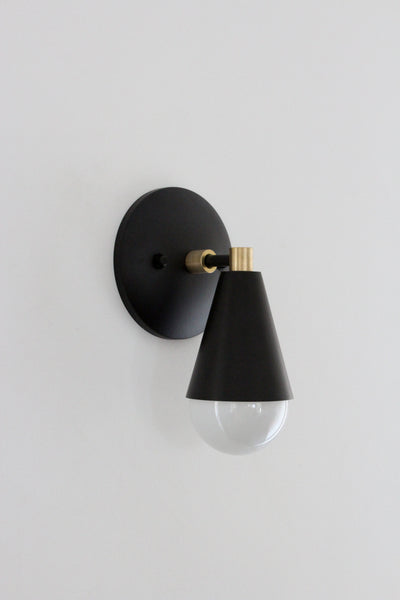 Matte Black and Brass Uptown Sconce