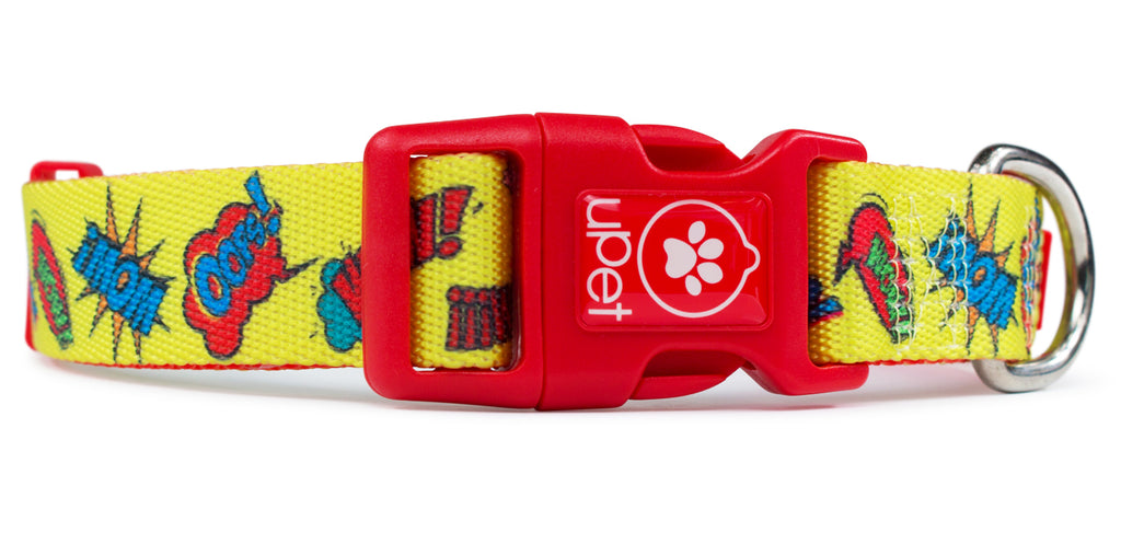 Pop art dog collar red buckle