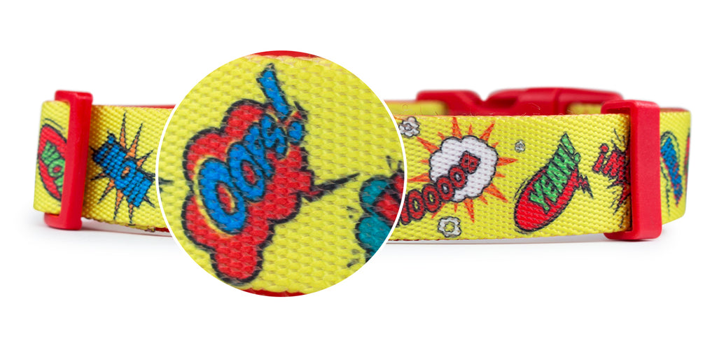 Webbing pop art dog collar yellow