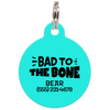 Aqua Bad to the Bone Funny Dog ID Tag