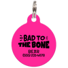 Fuchsia Bad to the Bone Funny Pet ID Tag