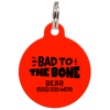 Red Bad to the Bone Funny Pet ID Tag