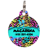 Aqua Colorful Animal Print Personalized Dog ID Tag for Pets