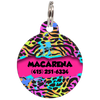 Fuchsia Colorful Animal Print Personalized Dog ID Tag for Pets