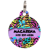 Lila Colorful Animal Print Personalized Dog ID Tag for Pets