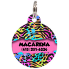 Pink Colorful Animal Print Personalized Dog ID Tag for Pets