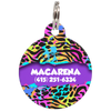 Purple Colorful Animal Print Personalized Dog ID Tag for Pets