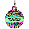 Seafoam Colorful Animal Print Personalized Dog ID Tag for Pets