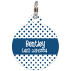 Navy Dots Pattern Personalized Dog ID Tag for Pets