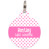 Pink Dots Pattern Personalized Dog ID Tag for Pets