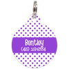 Purple Dots Pattern Personalized Dog ID Tag for Pets