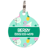Green Flamingos Personalized Dog ID Tag for Pets