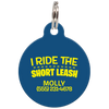 Navy I Ride The Short Leash Funny Dog ID Tag