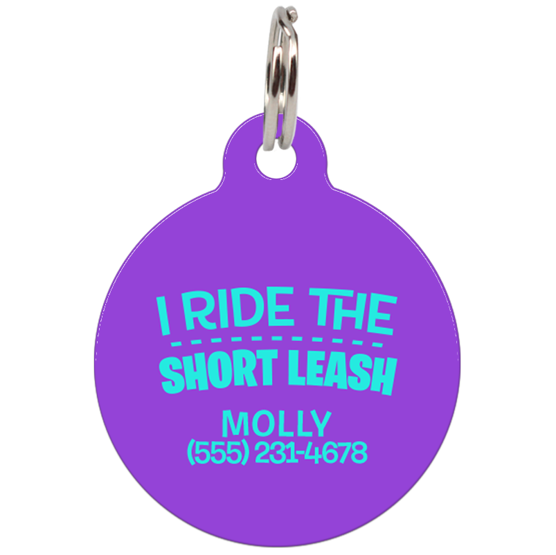 ride transparent i ride the short leash funny dog id tag for pets upet