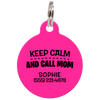 Fuchsia Keep Calm And Call Mom | Funny Dog ID Tag for Pets